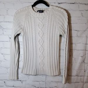 Theory Ivory Cableknit Sweater